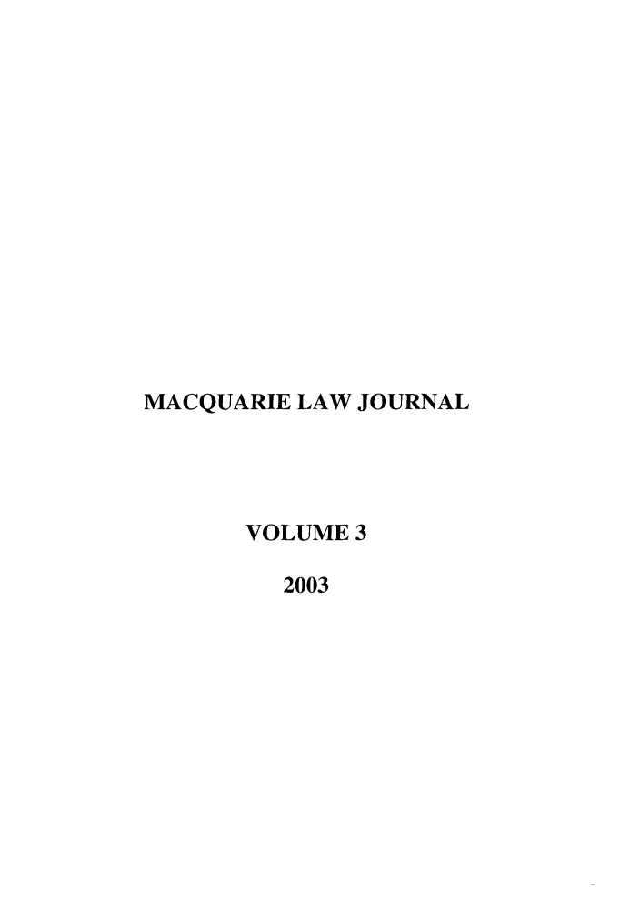 handle is hein.journals/macq3 and id is 1 raw text is: MACQUARIE LAW JOURNAL