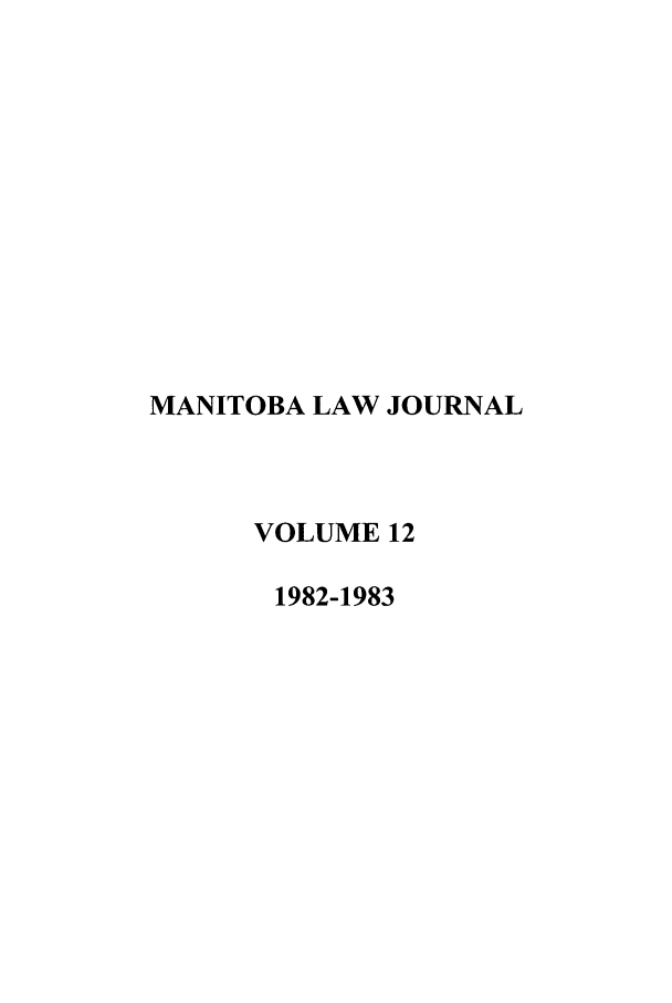 handle is hein.journals/manitob12 and id is 1 raw text is: MANITOBA LAW JOURNAL