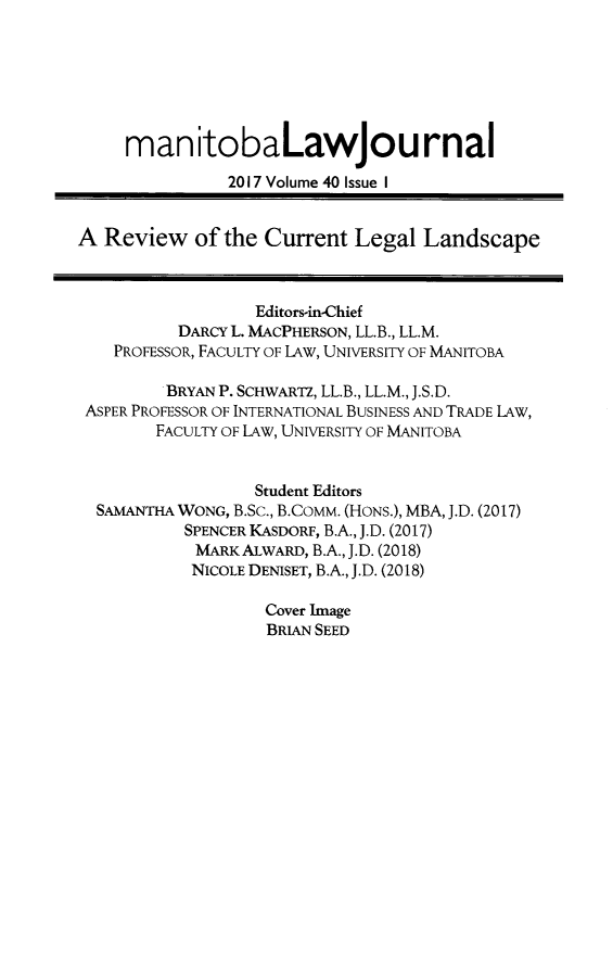 handle is hein.journals/manitob40 and id is 1 raw text is: 