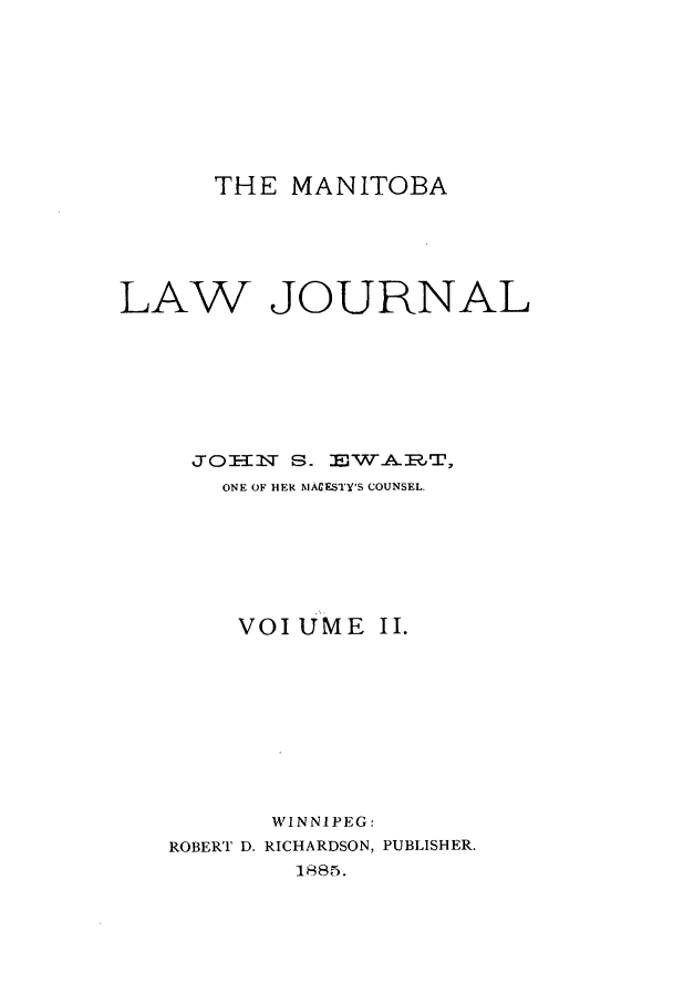 handle is hein.journals/manlwj2 and id is 1 raw text is: THE MANITOBA