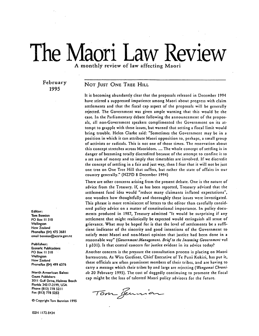 handle is hein.journals/maori1995 and id is 1 raw text is: The Maori Law Review