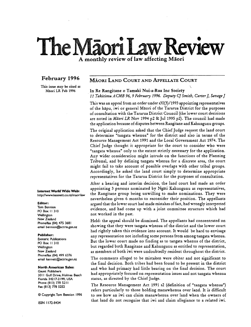handle is hein.journals/maori1996 and id is 1 raw text is: 0  I