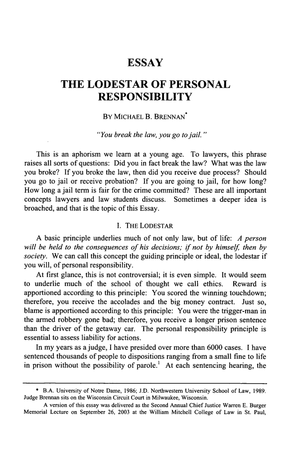 the lodestar of personal responsibility essay marquette law  what is