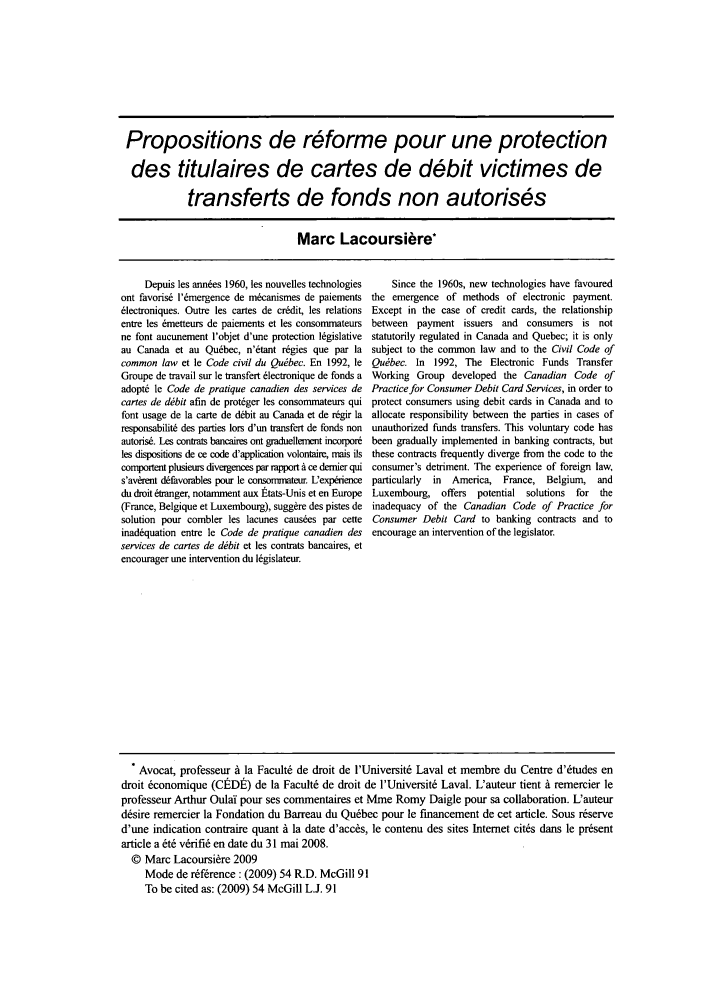 handle is hein.journals/mcgil54 and id is 93 raw text is: Propositions de r6forme pour une protection