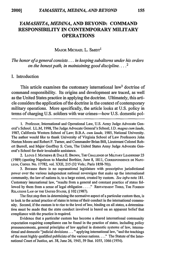 handle is hein.journals/milrv164 and id is 165 raw text is: YAMASHITA, MEDINA, AND BEYOND