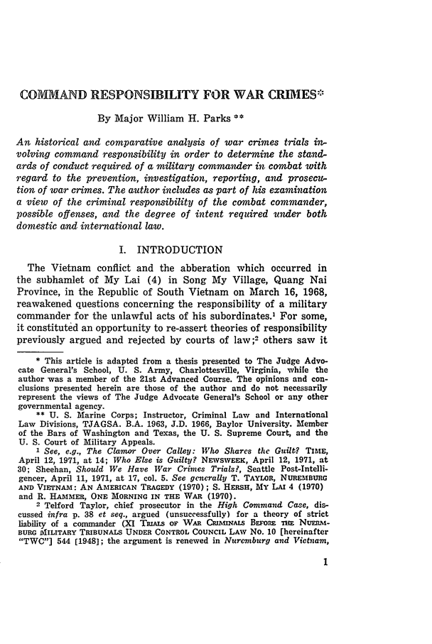 Command Responsibility For War Crimes 62 Military Law Review 1973
