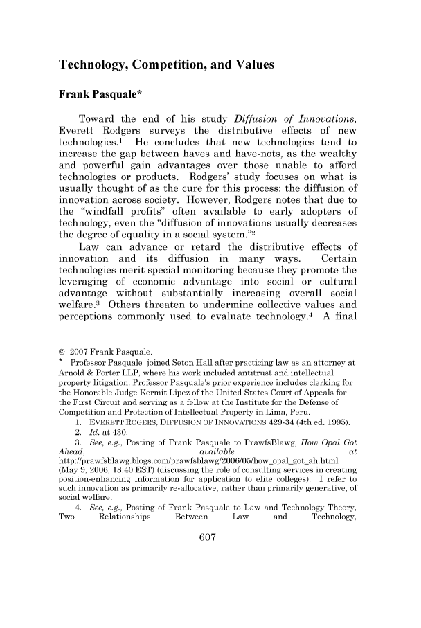 Technology, Competition, and Values 8 Minnesota Journal of ...
