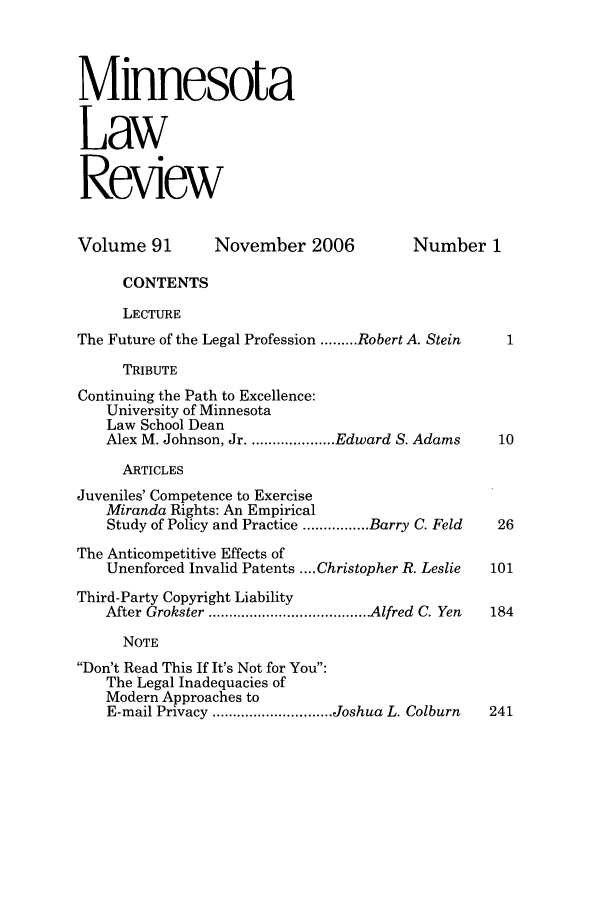 handle is hein.journals/mnlr91 and id is 1 raw text is: Minnesota