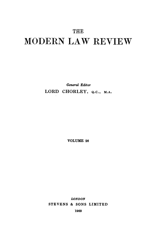 handle is hein.journals/modlr26 and id is 1 raw text is: THE