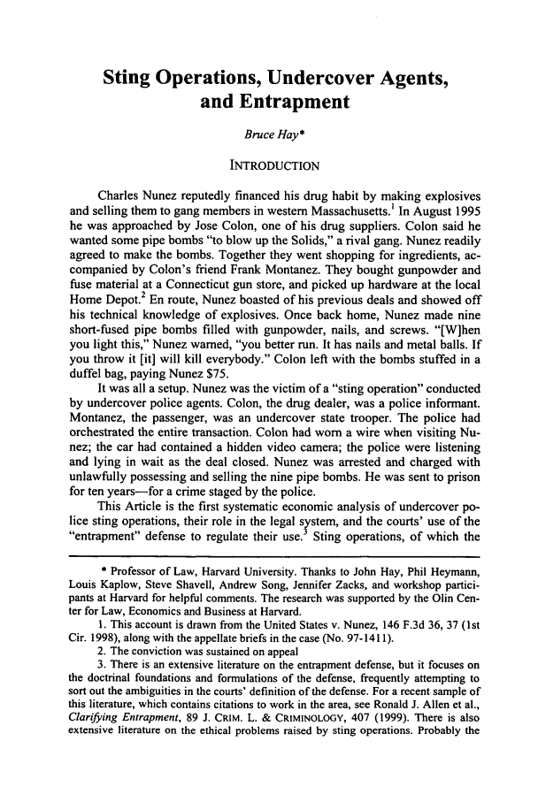 Financed Car Definition >> Sting Operations, Undercover Agents, and Entrapment 70 Missouri Law Review 2005