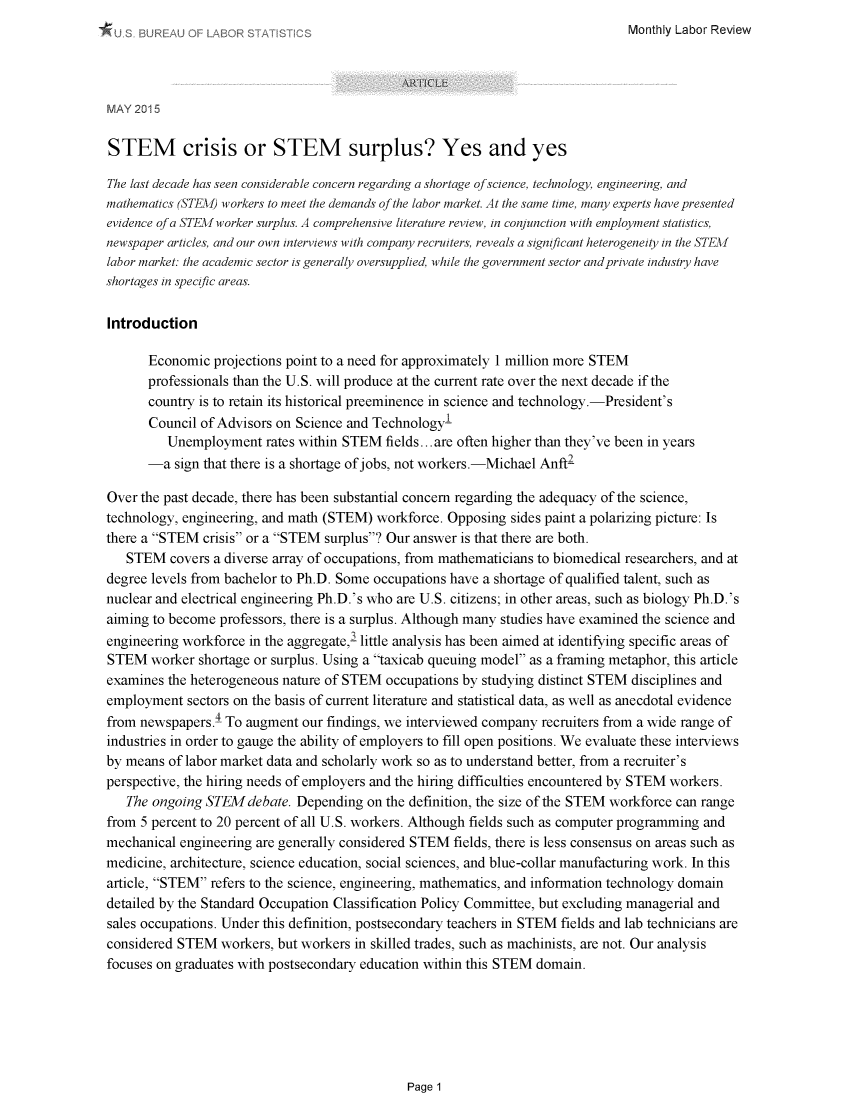 STEM Crisis or STEM Surplus: Yes and Yes 138 Monthly Labor Review 2015