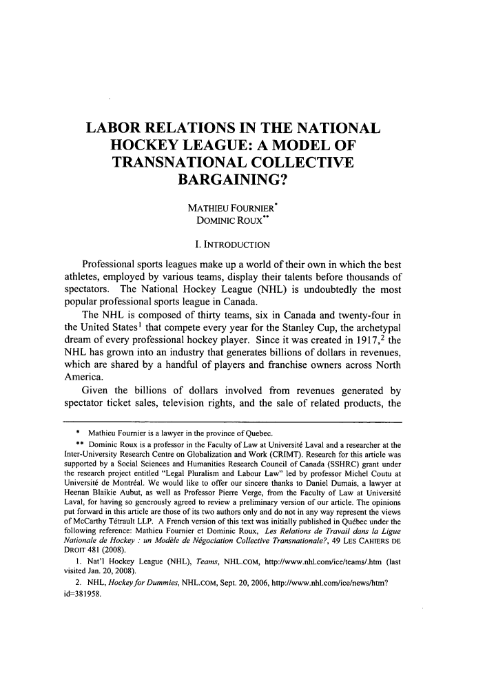 Labor Relations In The National Hockey League A Model Of