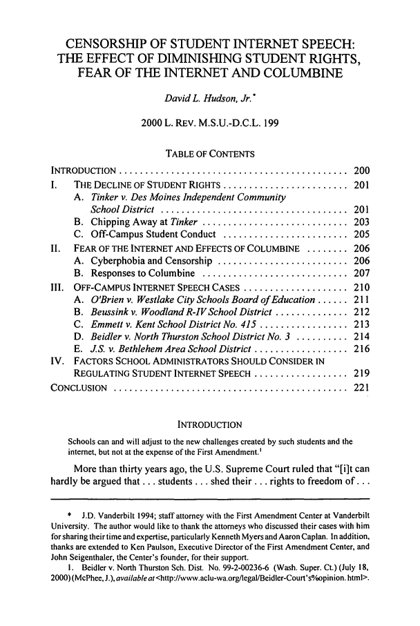 handle is hein.journals/mslr2000 and id is 209 raw text is: CENSORSHIP OF STUDENT INTERNET SPEECH: