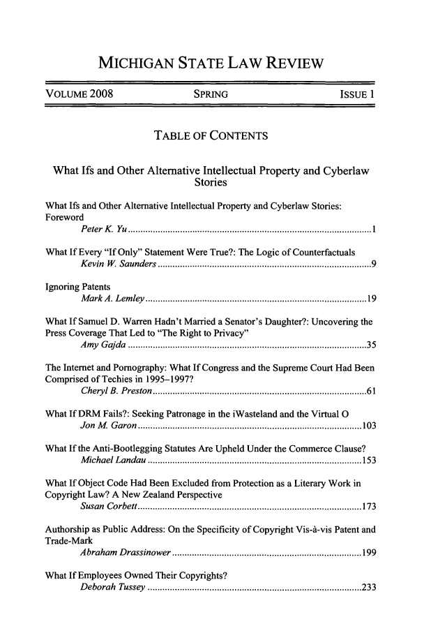 handle is hein.journals/mslr2008 and id is 1 raw text is: MICHIGAN STATE LAW REVIEW