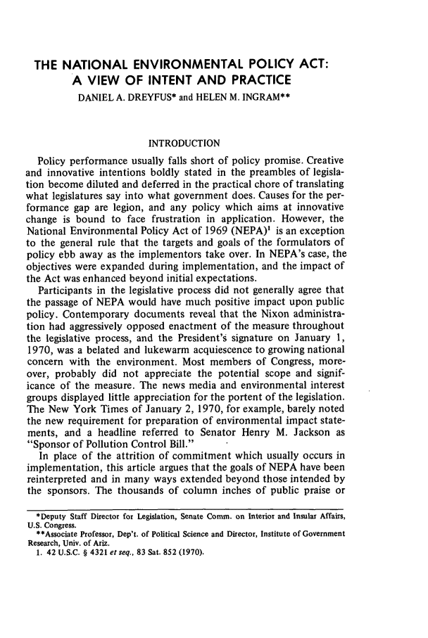 handle is hein.journals/narj16 and id is 261 raw text is: THE NATIONAL ENVIRONMENTAL POLICY ACT: