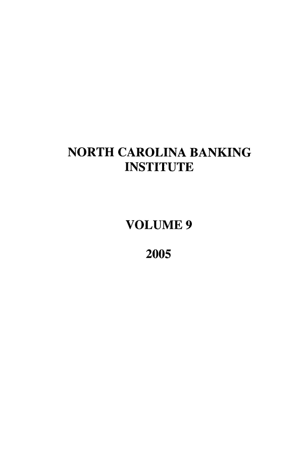 handle is hein.journals/ncbj9 and id is 1 raw text is: NORTH CAROLINA BANKING