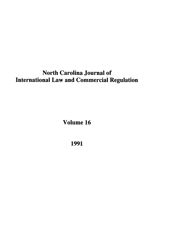 handle is hein.journals/ncjint16 and id is 1 raw text is: North Carolina Journal of