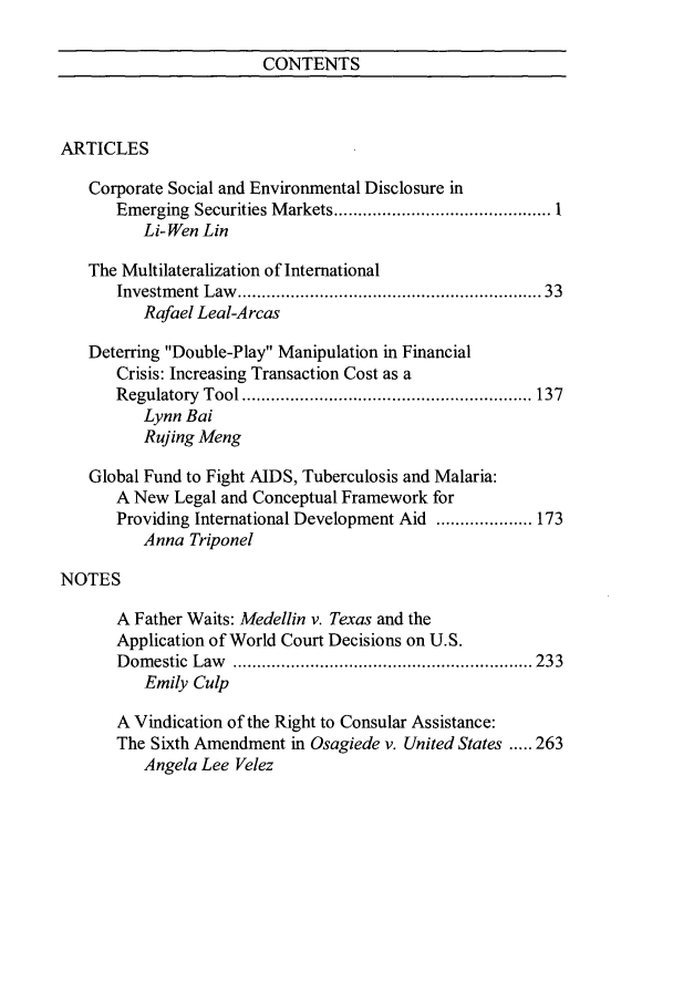 handle is hein.journals/ncjint35 and id is 1 raw text is: CONTENTS
