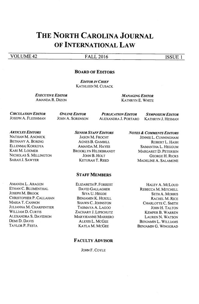 North Carolina Journal of International Law V  42