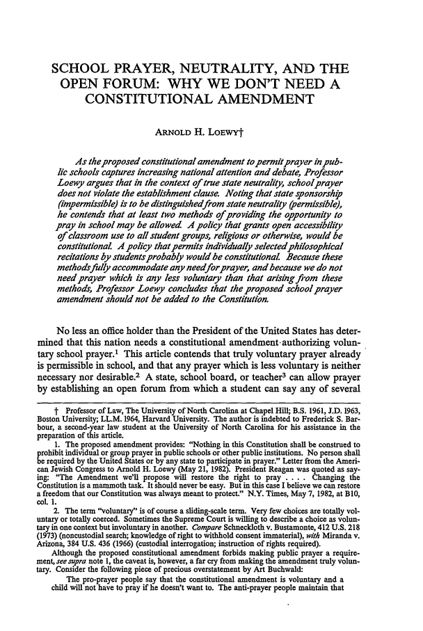 handle is hein.journals/nclr61 and id is 169 raw text is: SCHOOL PRAYER, NEUTRALITY, AND THE
