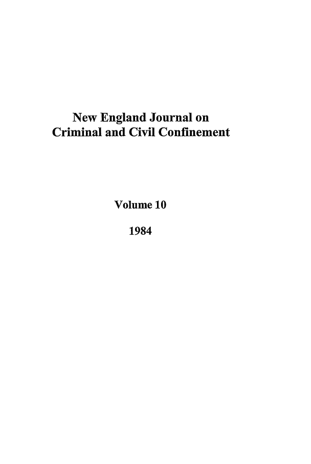 handle is hein.journals/nejccc10 and id is 1 raw text is: New England Journal on