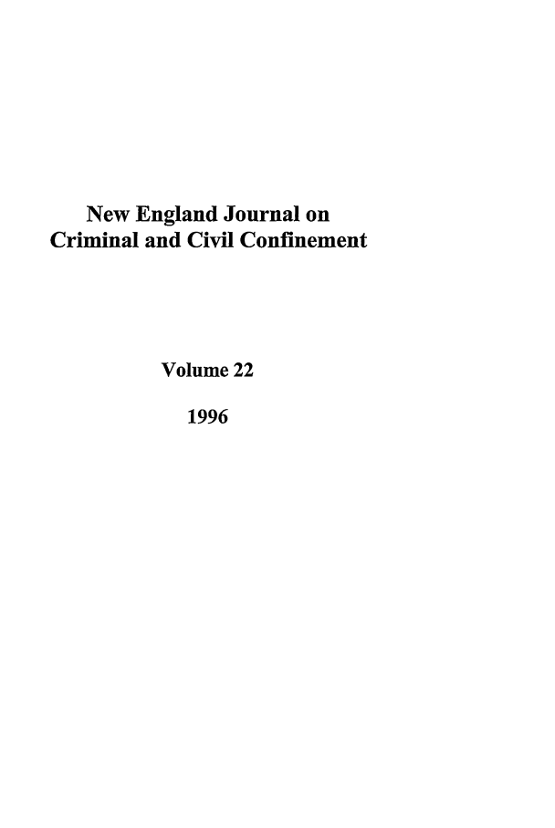 handle is hein.journals/nejccc22 and id is 1 raw text is: New England Journal on