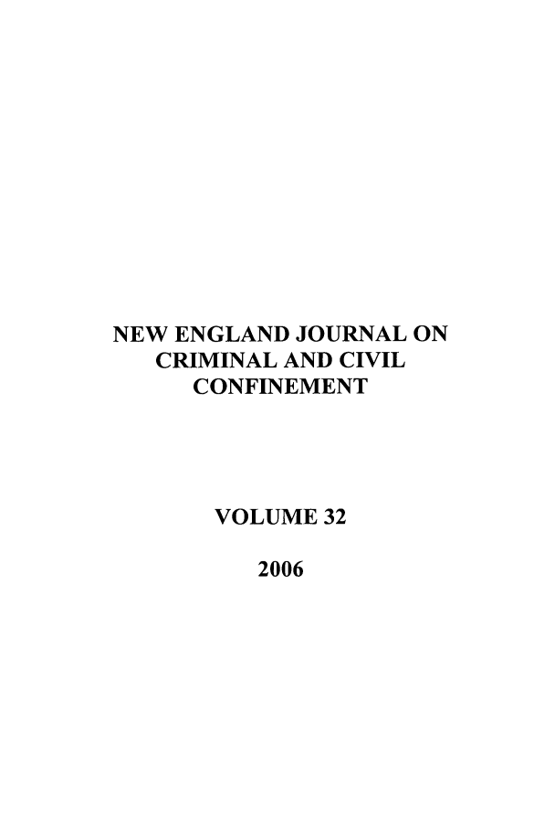handle is hein.journals/nejccc32 and id is 1 raw text is: NEW ENGLAND JOURNAL ON