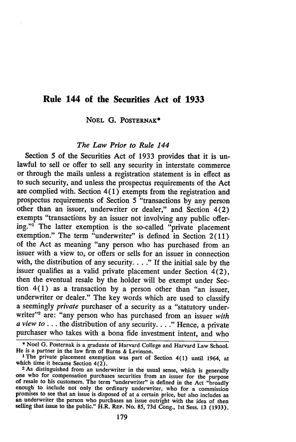 Rule 144 of the Securities Act of 1933 Securities and ...