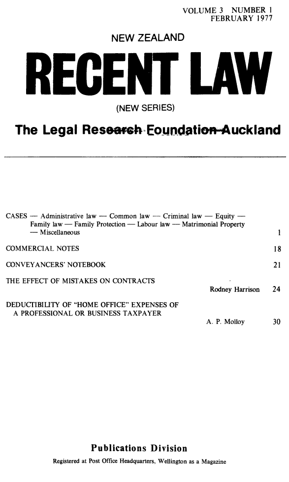 handle is hein.journals/newzlndrl3 and id is 1 raw text is:                 VOLUME 3 NUMBER I