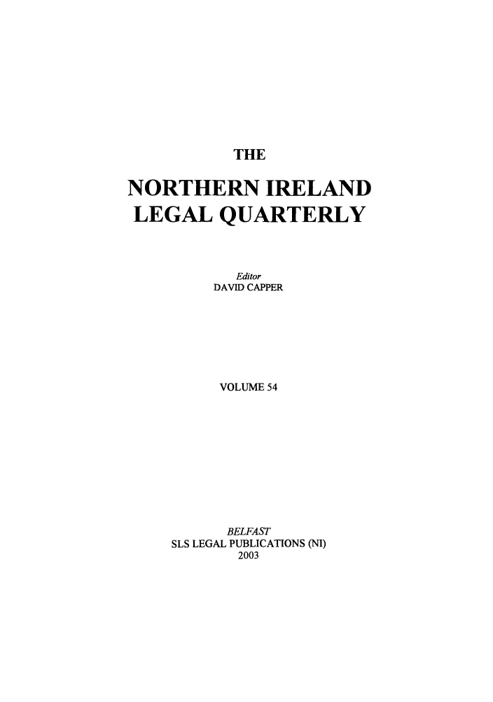 title page 54 northern ireland legal quarterly 2003