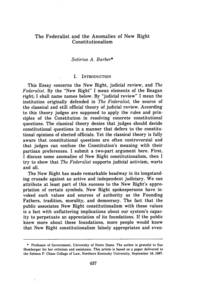 handle is hein.journals/nkenlr15 and id is 445 raw text is: The Federalist and the Anomalies of New Right