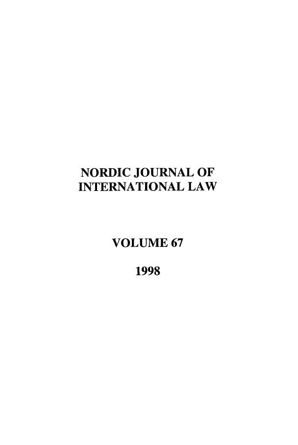 handle is hein.journals/nordic67 and id is 1 raw text is: NORDIC JOURNAL OF