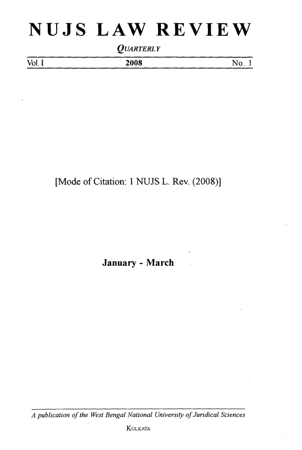 handle is hein.journals/nujslr1 and id is 1 raw text is: NUJS LAW      REVIEW