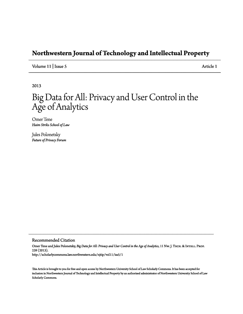 handle is hein.journals/nwteintp11 and id is 265 raw text is: Northwestern Journal of Technology and Intellectual Property