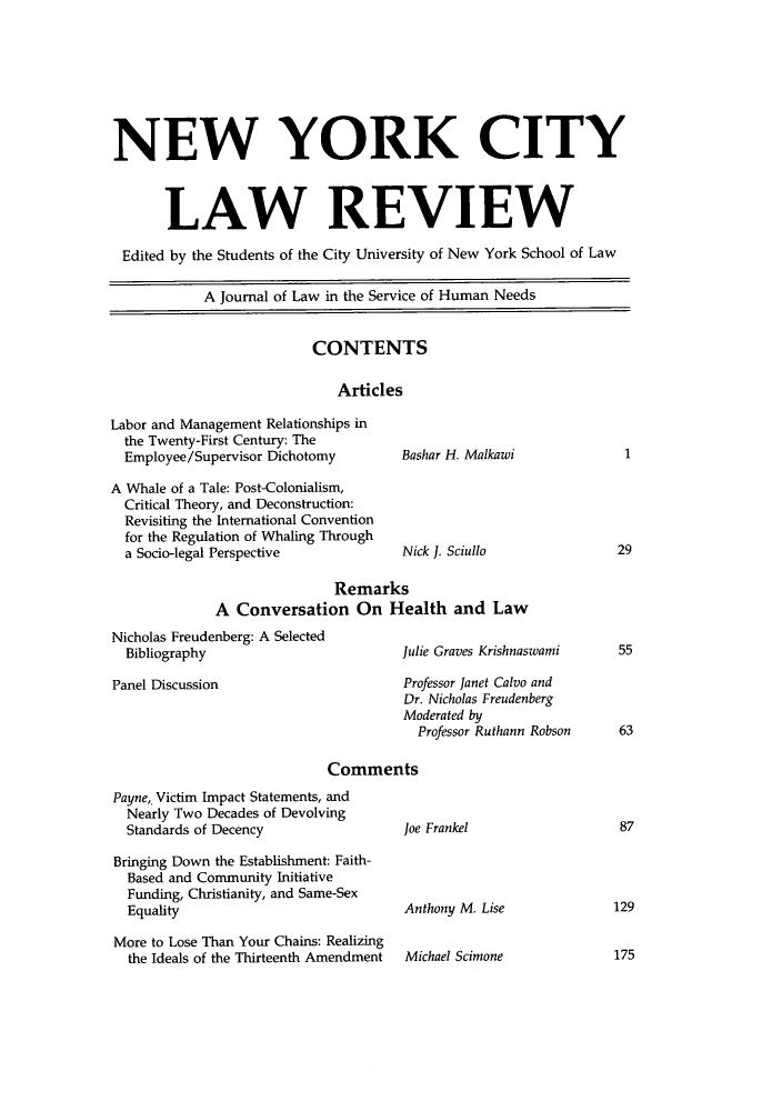 New York City Law Review V  12