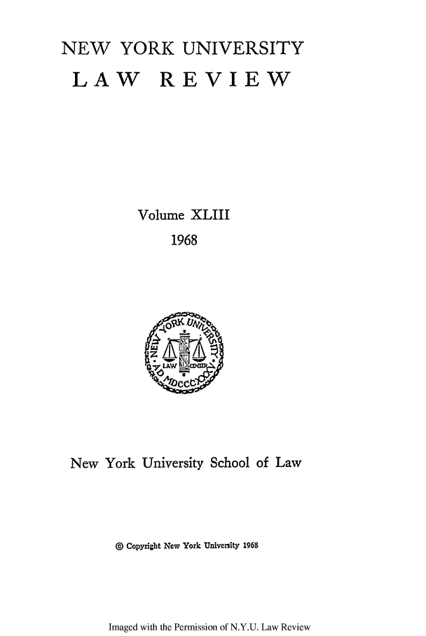 handle is hein.journals/nylr43 and id is 1 raw text is: NEW YORK UNIVERSITY