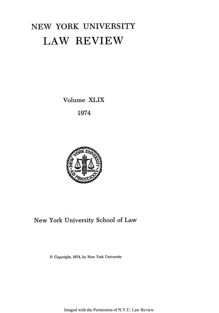 handle is hein.journals/nylr49 and id is 1 raw text is: NEW YORK UNIVERSITY