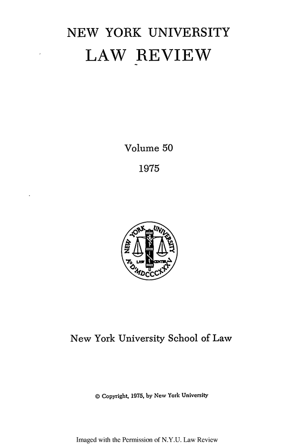 handle is hein.journals/nylr50 and id is 1 raw text is: NEW YORK UNIVERSITY