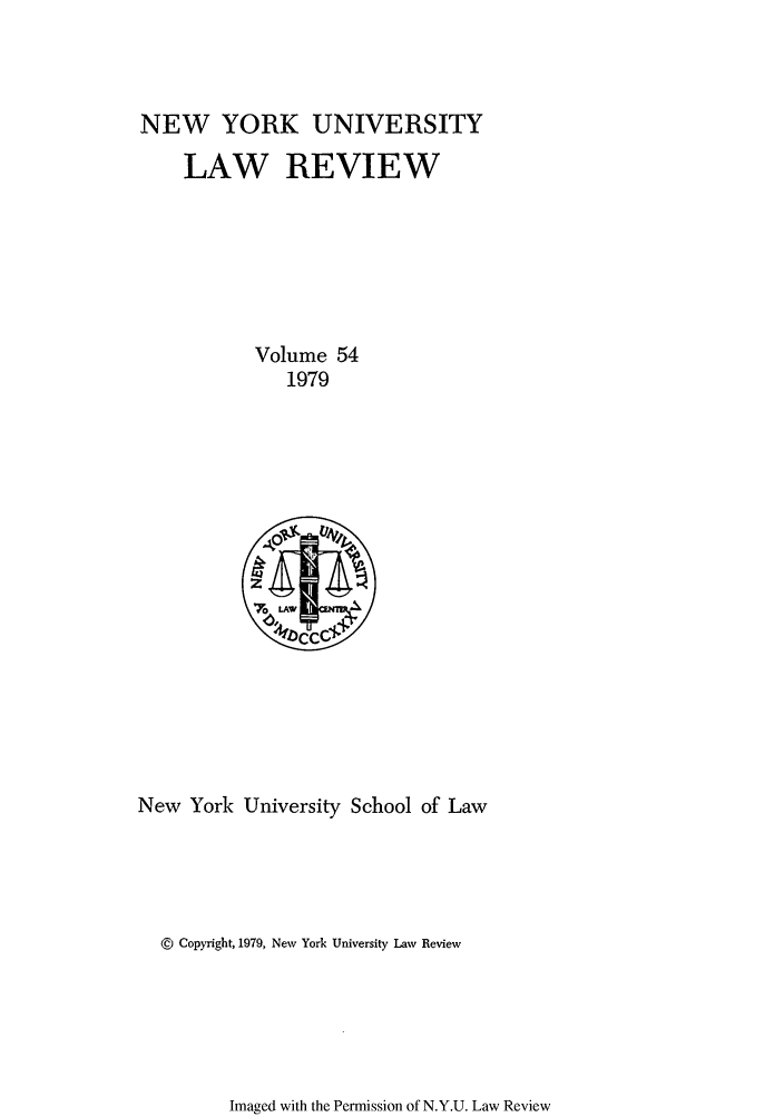 handle is hein.journals/nylr54 and id is 1 raw text is: NEW YORK UNIVERSITY