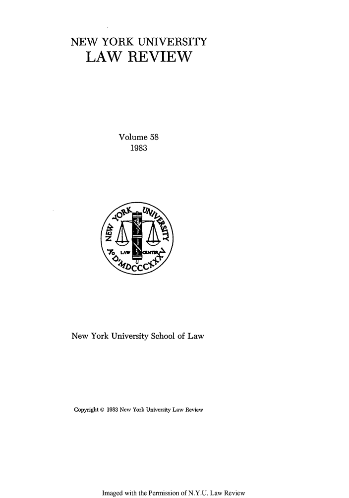 handle is hein.journals/nylr58 and id is 1 raw text is: NEW YORK UNIVERSITY
