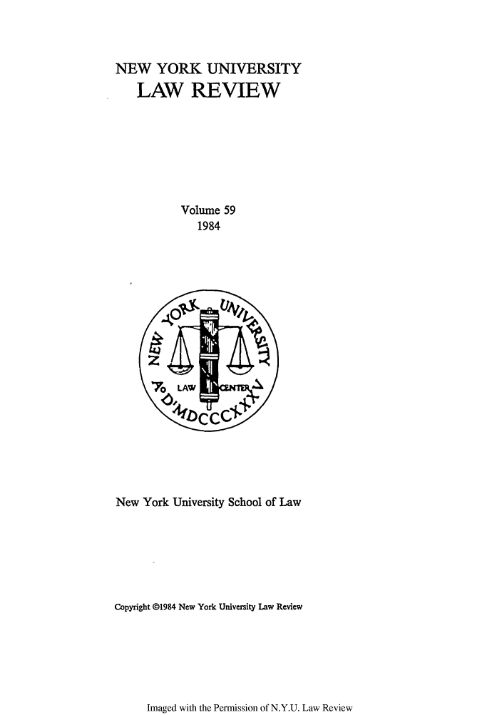 handle is hein.journals/nylr59 and id is 1 raw text is: NEW YORK UNIVERSITY