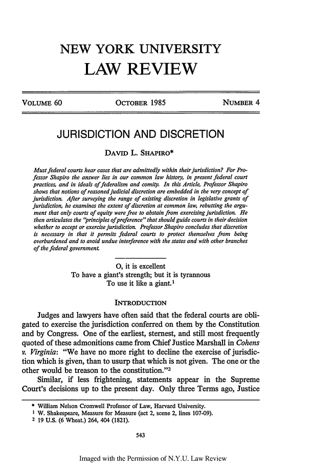 handle is hein.journals/nylr60 and id is 557 raw text is: NEW YORK UNIVERSITY