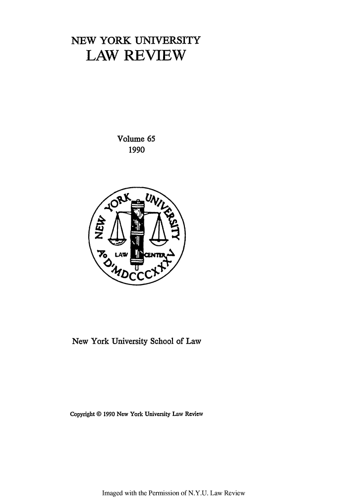 handle is hein.journals/nylr65 and id is 1 raw text is: NEW YORK UNIVERSITY