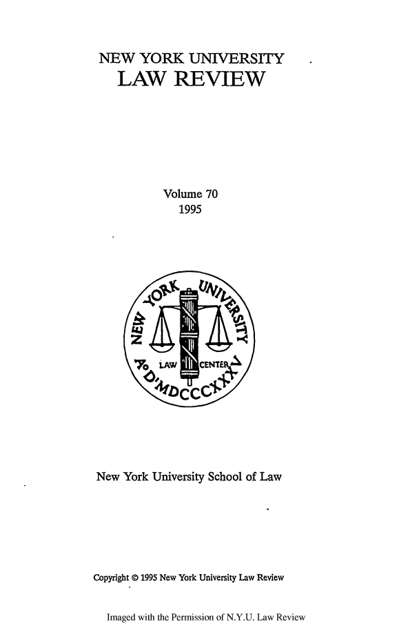 handle is hein.journals/nylr70 and id is 1 raw text is: NEW YORK UNIVERSITY