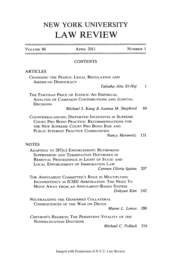 handle is hein.journals/nylr86 and id is 1 raw text is: NEW YORK UNIVERSITY