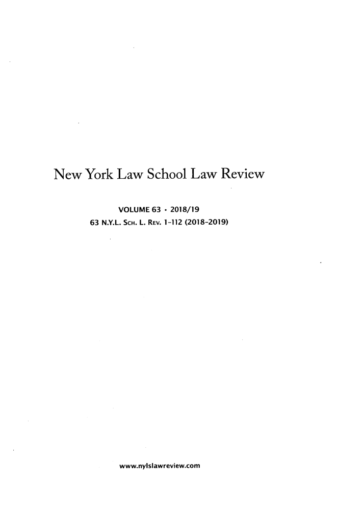 handle is hein.journals/nyls63 and id is 1 raw text is: 
