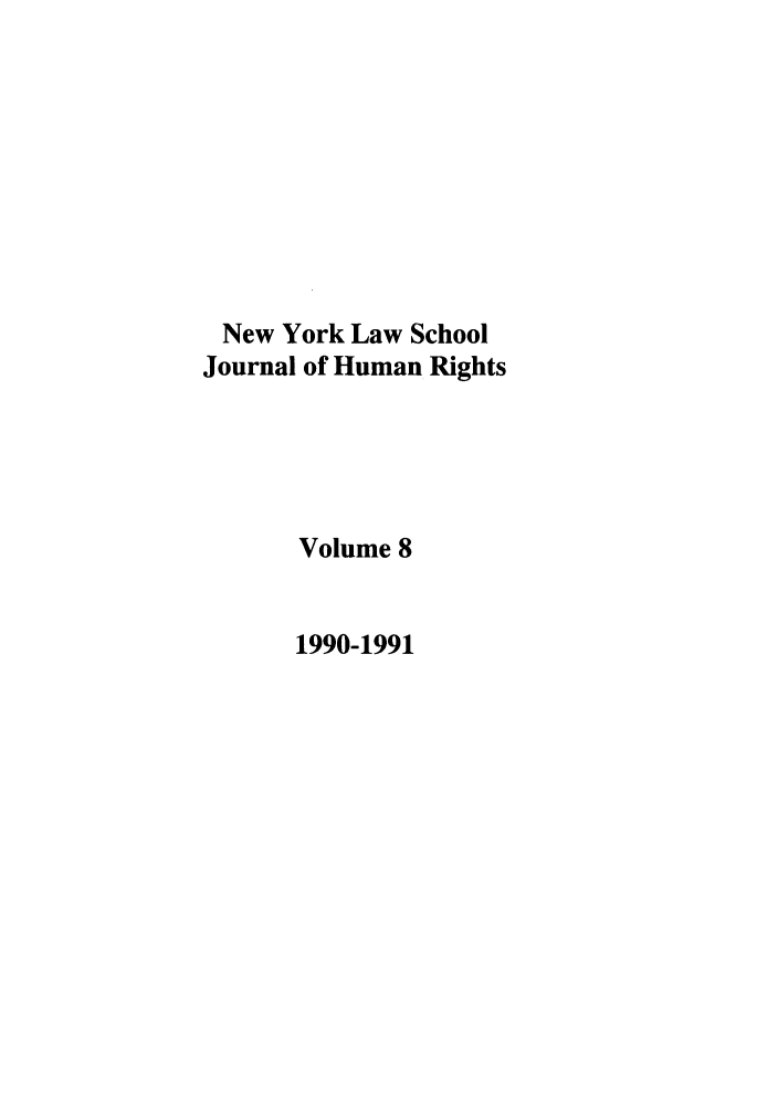 handle is hein.journals/nylshr8 and id is 1 raw text is: New York Law School