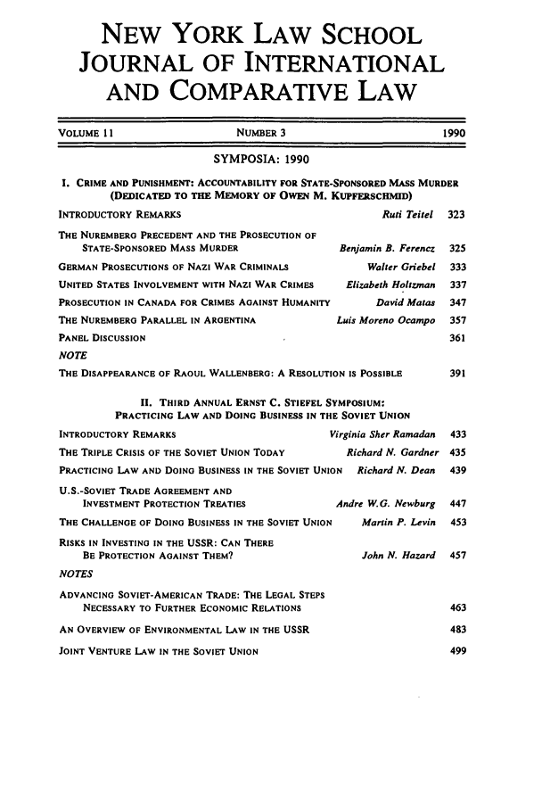 Table of Contents - Issue 3 11 New York Law School Journal