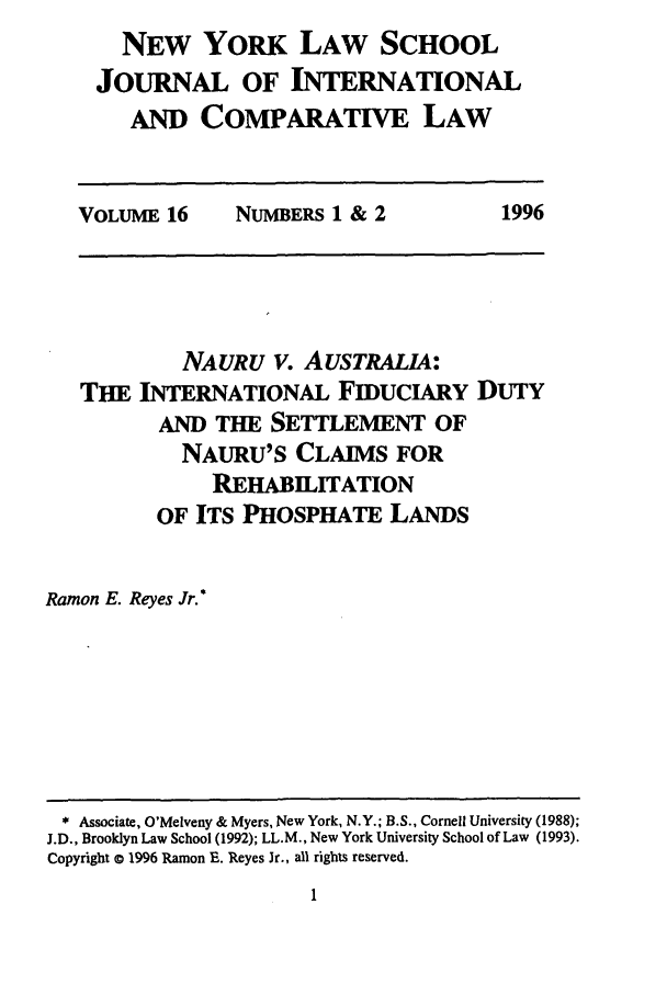 handle is hein.journals/nylsintcom16 and id is 7 raw text is: NEW YORK LAW SCHOOL