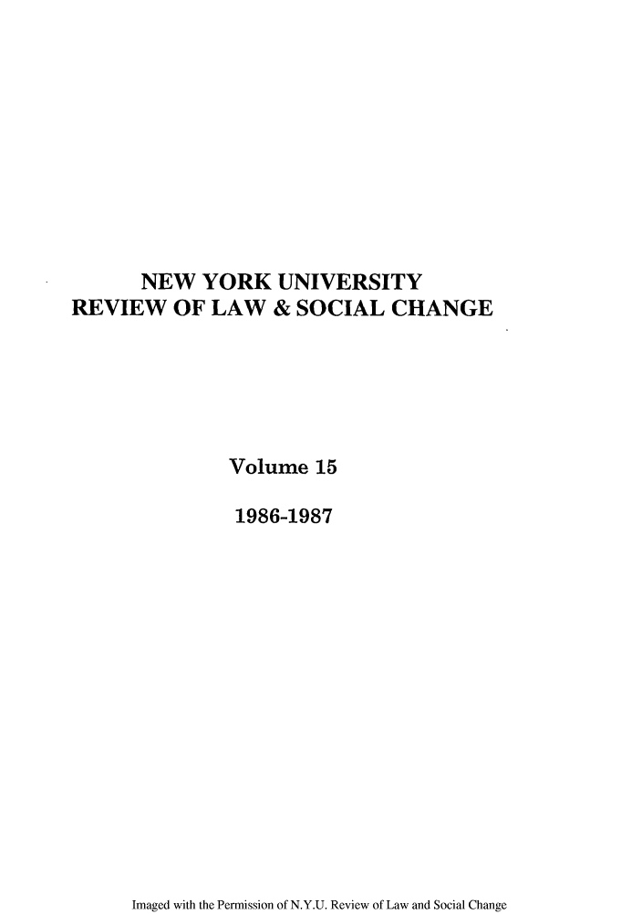 handle is hein.journals/nyuls15 and id is 1 raw text is: NEW YORK UNIVERSITY